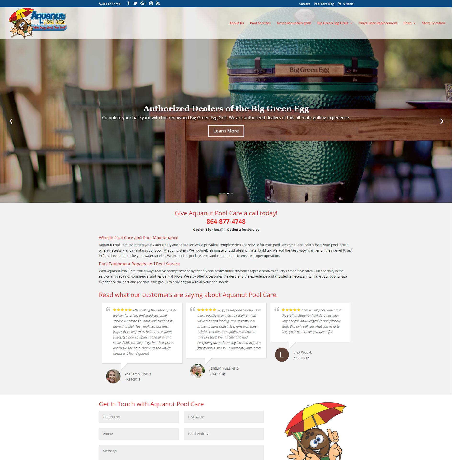Aquanut Pool Care Website Design and Development