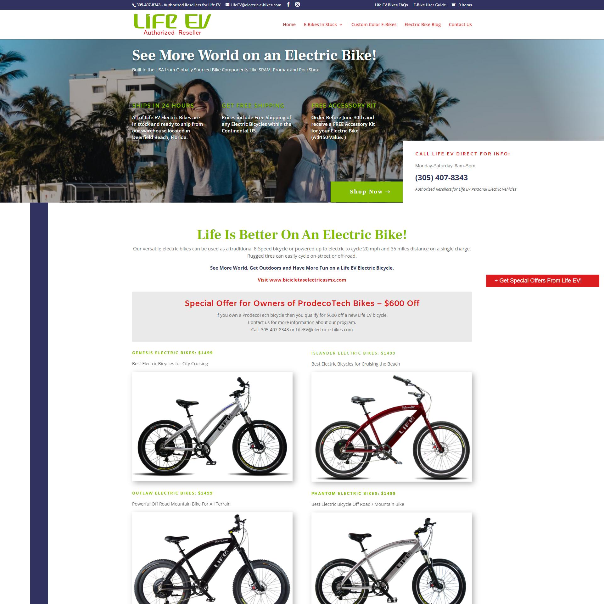Life EV Bicycles Website Design and Development