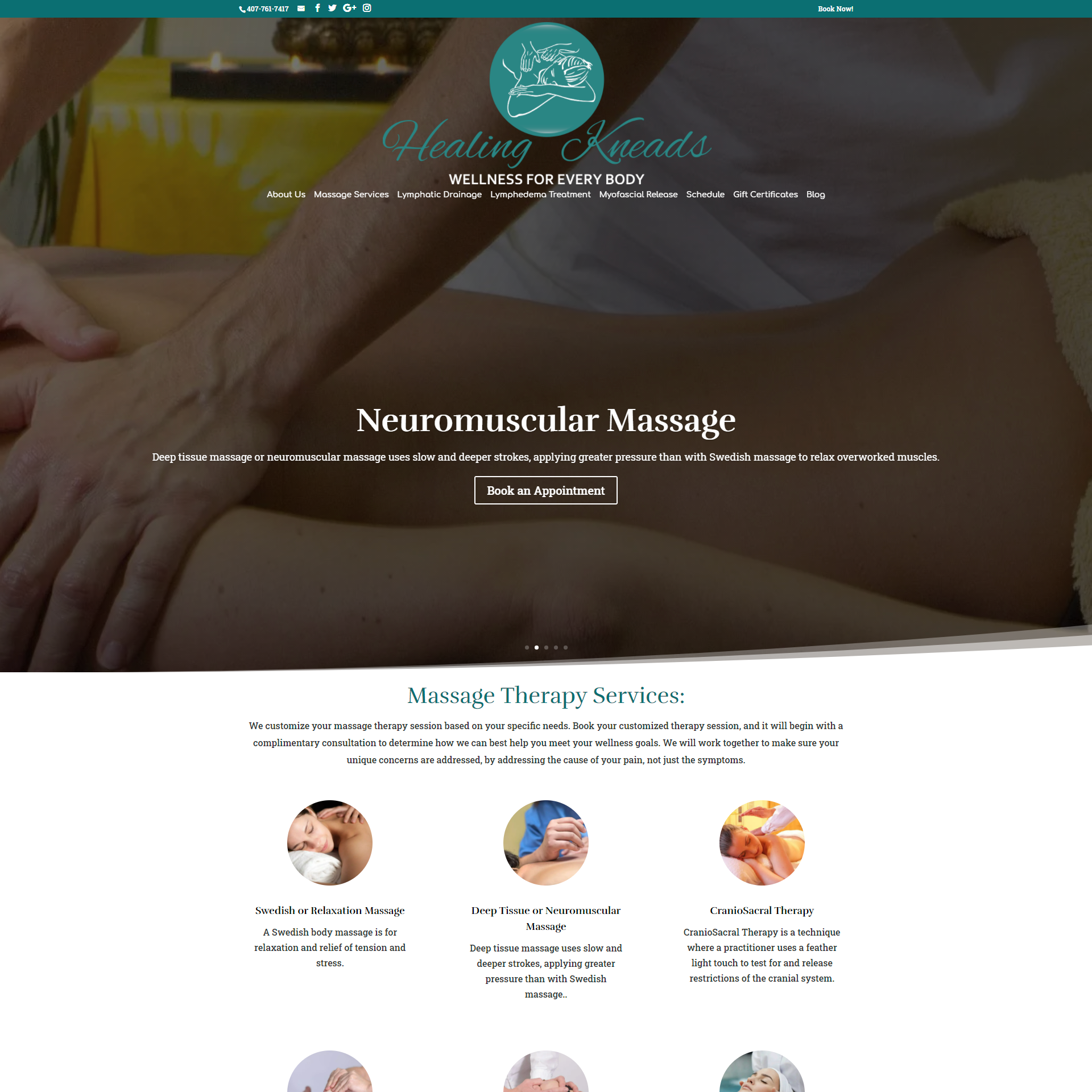 Massage Therapy Lake Mary Website Design and Development
