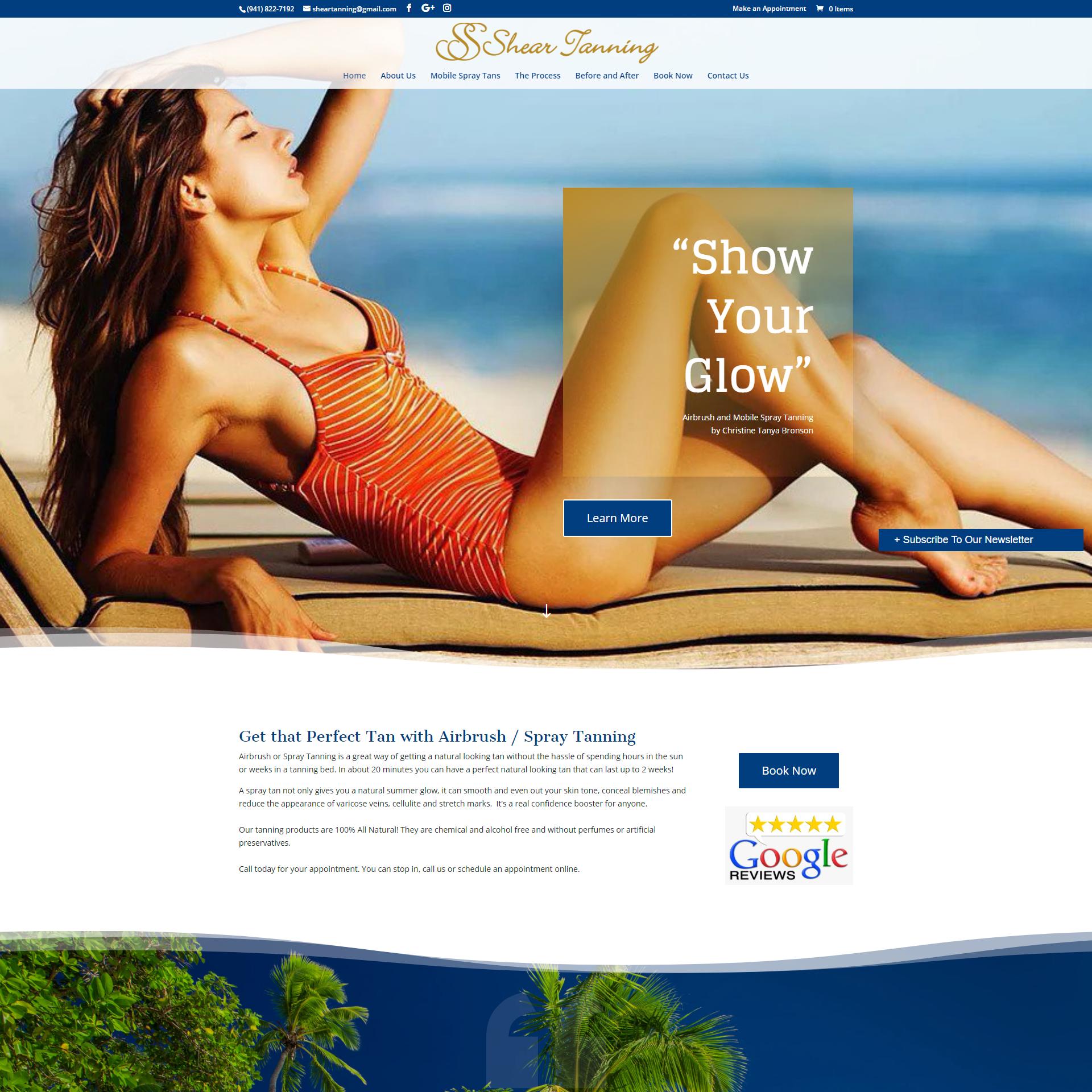 Shear Tanning Spray Tan Website Design and Development